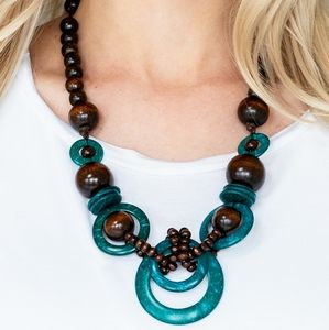 Mix and Match Jewelry Wood Tone and Bkue Necklace